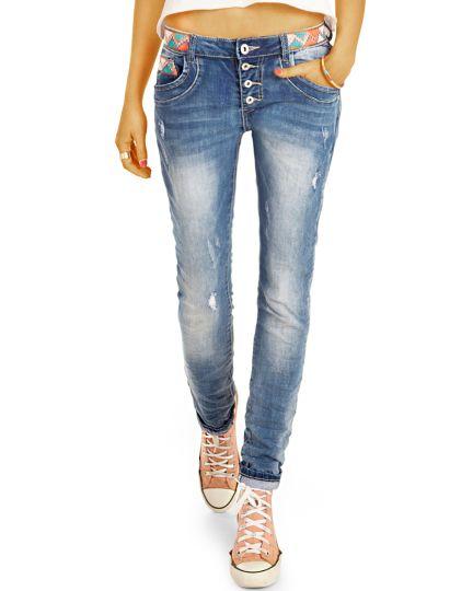 Lockere Sommer Boyfriend Jeans mit Knopfleiste zerrissene Destroyed - Damen - j21p
