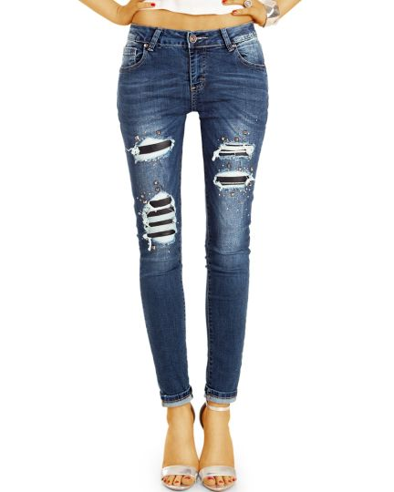 Hight Waist Skinny Röhrenjeans enge Stretch Fit auffälliger Destroyed Nieten Look - Damen - j11k