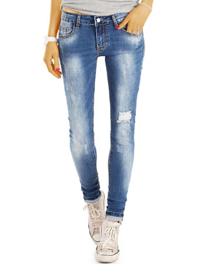 Röhrenjeans Slim Fit Medium-Low Waist Skinny Jeans Hose - Used Look  - Damen - j62f--Q
