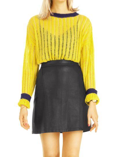 Pullover, Strickpulli mit Streifenmuster, transparentes Oberteil Mohair  - Damen - t102z