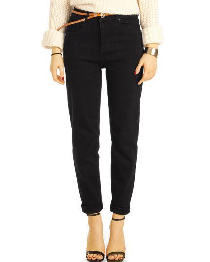 Schwarze High Waist Jeans, Mom Jeans Hose stretchig - klassisch, bequem -  Damen - j13k-3