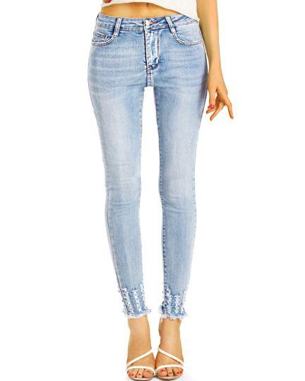 Medium Waist Röhrenjeans Skinny Fit Stretch Hose hoch geschnitten - Damen - j9m-1
