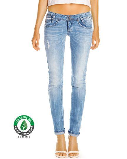 Premium Jeanshose aus Bio Organic Denim - Stretch Hüftjeans im Low Waist geraden Schnitt - Damen - Bi0_001a