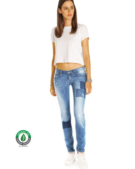Premium Jeanshose aus Organic Denim - Skinny Röhrenjeans Low Waist Hüftjeans - Damen - Bi0_002
