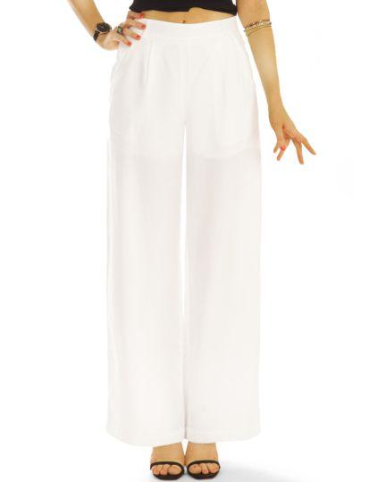 Stoffhosen, lockere hoch geschnittene Bundfalten Hosen mit weitem Bein high waist Hosen - Damen - j43g-2