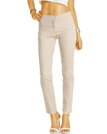bestyledberlin Damen Chinos - Basic Slim Fit Stoffhosen - j55f