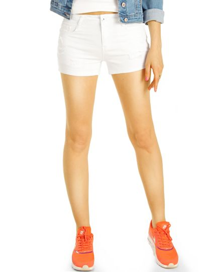 Shorts kurze stretch Jeanshose Hotpants - lässig locker destroyed Look - Damen - j5p