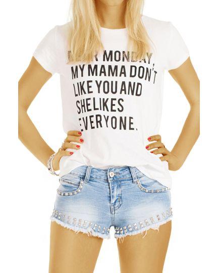 Jeans Shorts - Hotpants Super kurze Minishorts mit Nieten, kurze Hosen - Damen -  j69i
