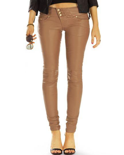 Röhrenhose vegane super skinny low waist Jeans hüftige strech pushup Kunstlederhose - Damen - j44L-1