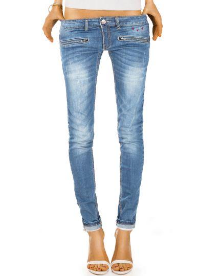 Skinny Damen Hüftjeans - Röhrige Used Look Jeans Hose mit Reißverschluss Taschen - j03ixx
