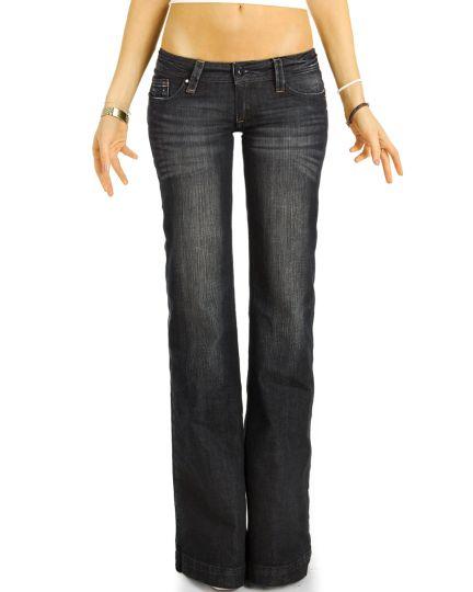 Bootcut Jeans Low Waist Hüftjeans Hose Retro Schlagjeans vintage   - Damen - j34g-4