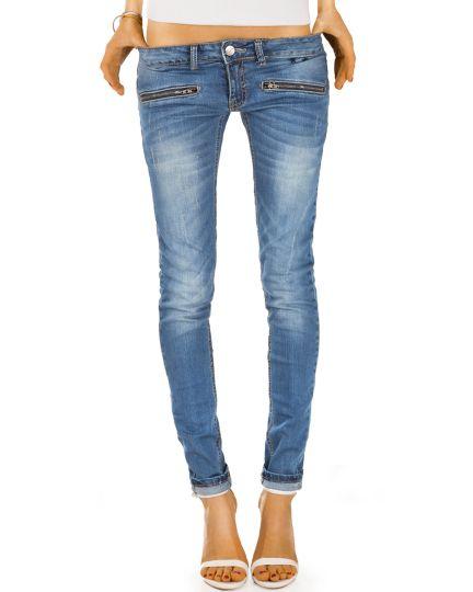 Skinny Slim Fit Hüftjeans mit Reißverschluss Taschen - Röhrige Damenjeans Hose in Used Waschung - j03i