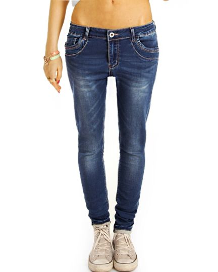 Baggy Boyfriend Low Waist Hüftjeans Hose Tapered - Classic Design Regular Fit - Damen- j5f
