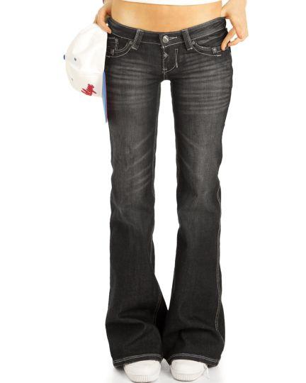 Bootcut Jeans Low Waist Hüftjeans Hose Retro Schlagjeans vintage   - Damen - j10m-2