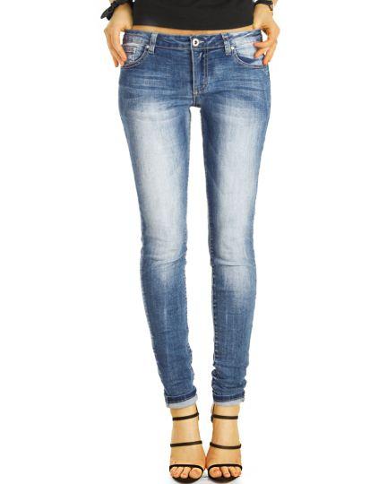 Low Waist Jeans Hüftjeans Röhrenjeans Skinny Hosen in blau und hellblau - Damen -  j14m-1