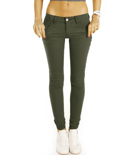 Low Waist Jeans Hosen hüftige Röhrenjeans Skinny Strech fit Hüftjeans in schwarz und  khaki - Damen - j14f-2