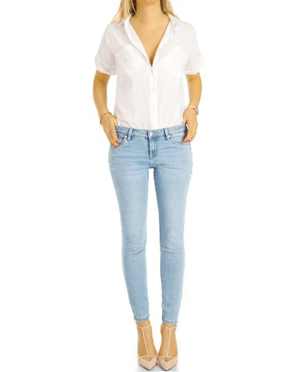 Hüftjeans Skinny Hose - Stretch dunkelblaue & hellblaue slim Röhrenjeans - Damen- j27p-1