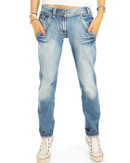 Boyfriend Jeans Hose Baggy Relaxed Fit - Locker bequem klassisch - Damen - j2k-1