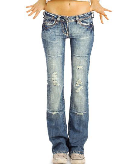 Bootcut Jeans Low Waist Hüftjeans Hose destroyed Schlagjeans used  - Damen - j35g-2