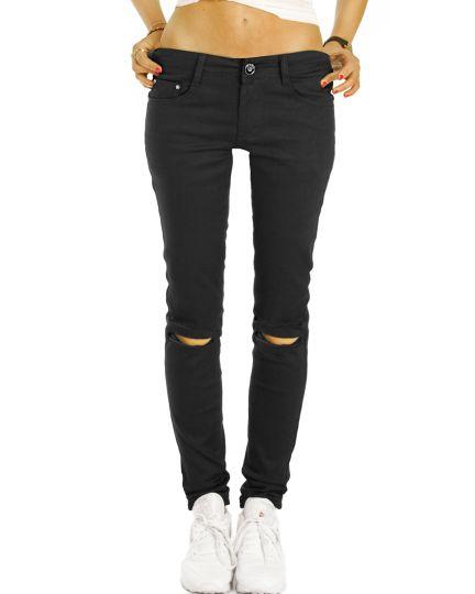 Medium Waist Jeans -  Fit Jeans in schwarzer black in black Waschung, destroyed look - Damen -  j77i-Q