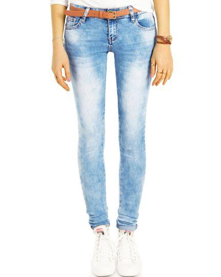 Blaue Slim Röhrenjeans Skinny Low Waist Stretch Hose bleached - Damen - j16k-3