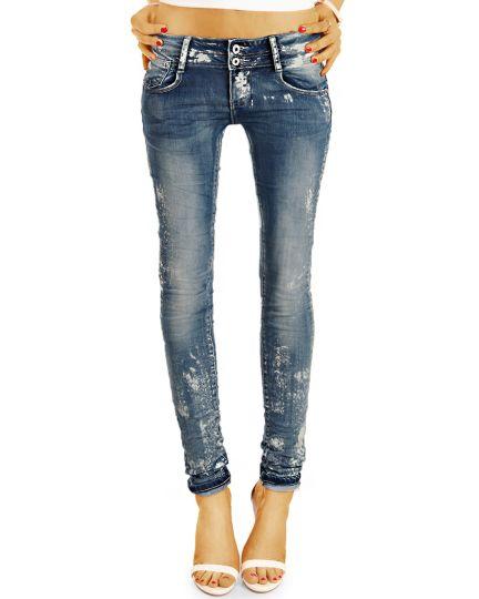 be styled Design Jeanshose Hüftjeans Damen mit weißen Farbflecken, röhriger Skinny Slim Schnitt - j25r