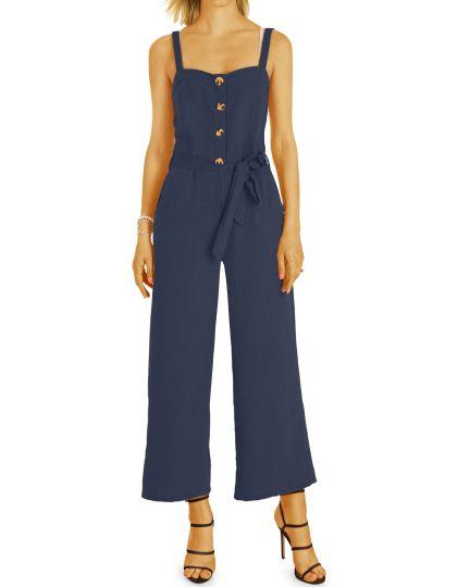 Jumpsuit Overall Hosen Anzug im weiten bequemen eleganten sommerlichen Leinen  Look - Damen - j72a