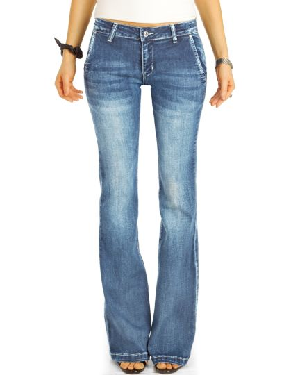 Bootcut Jeans Medium Waist Hüftjeans Hose Retro Schlagjeans - Damen - j4L-1