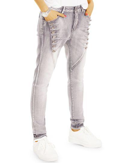 Loose Jeanshosen Regular Fit Boyfriend Jeans - Graue Damen Jeans mit Knopfapplikationen - j82i