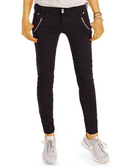 Skinny Fit Jeans mit engem Bein und Biker Applikationen Damen - j59k