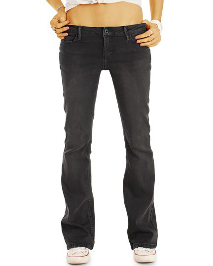 Superstretch Bootcut Jeans Hose in Schwarz / Anthrazit - Damen Schlagjeans in lockerer Loose Fit Passform  - j04m