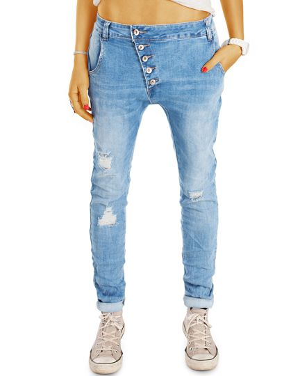 Baggy  Jeans mit stylischer Knopfleiste - Tapered Girlfriend / Boyfriend Fit - Damen - j9l