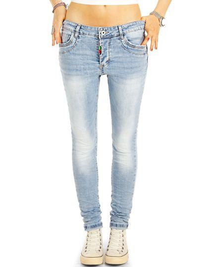 Straight cut Jeans regular tapered hellblaue stretch Hosen - Damen -  j38L-2