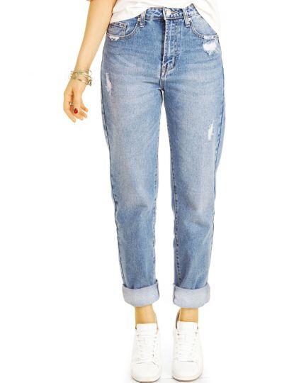 Mom Jeans Boyfriend High Waist Hose - Destroyed Locker Bequem -  Damen - j21r-3