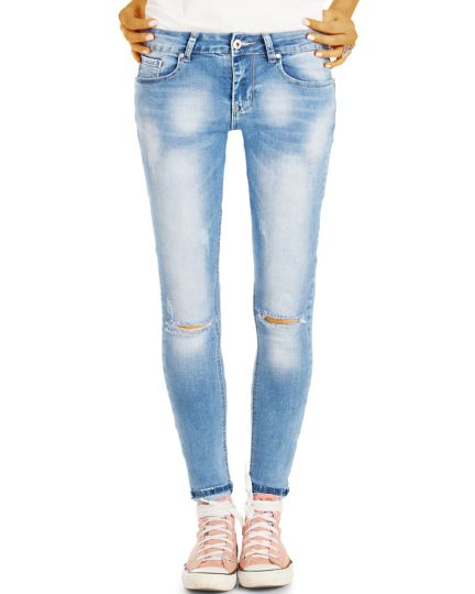 Ripped Knee Hüftjeans Röhrenjeans - Skinny Fit Used Look mit aufgerissenen Knien - Damen - j53f