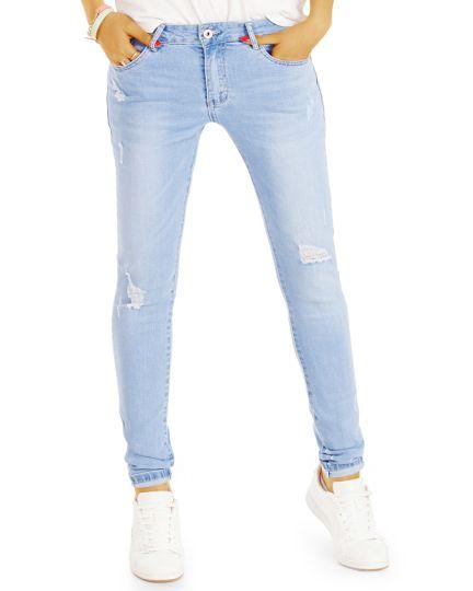 Basic Damen Röhrenjeans - Used Look Slim Fit Jeans - Damen - j74i