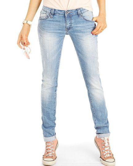 Low waist straight cut Jeans regular hellblaue Hüftjeans stretch Hosen - Damen - j6k