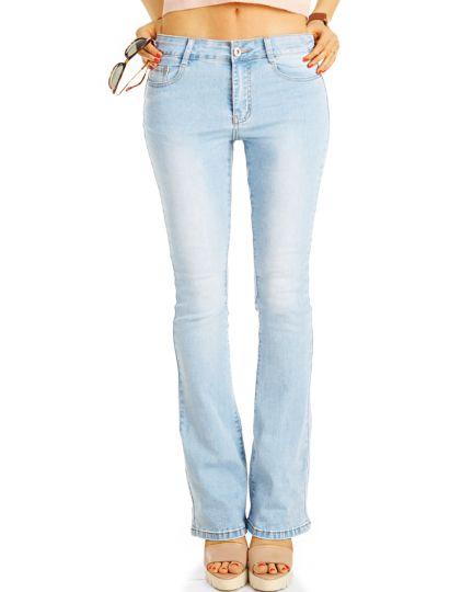 Mid Waist Bootcut Stretch Jeans Hosen in hellblau Schlagjeans - lockerer Schnitt  - Damen - j3r-1