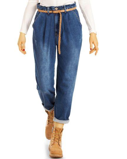 Mom Jeans Boyfriend High Waist Hose - Oversized Locker Bequem -  Damen - j19p-1