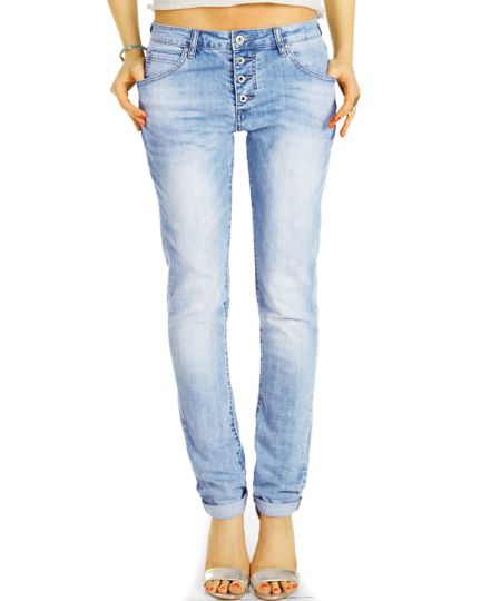 Medium - Low Waist Baggy Jeans Tappered mit Knopfleiste - Bequeme Boyfriend Stretch Hose - Damen - j30L-3