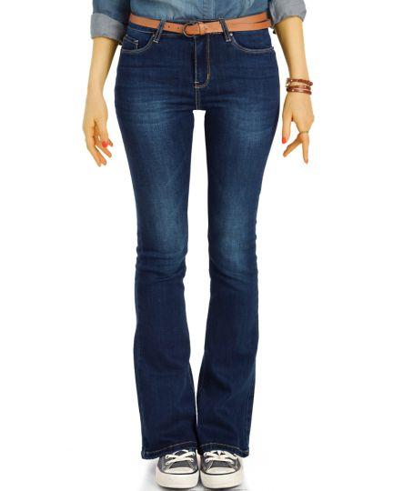 Mid Waist Bootcut Stretch Jeans Hosen in schwarz-grau  und blau Schlagjeans - lockerer Schnitt  - Damen - j7i