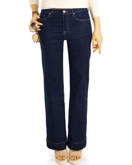Bootcut Jeans, bottom bell stretch fit Passform Hosen, schlaghose medium waist -  Damen - j24r-1
