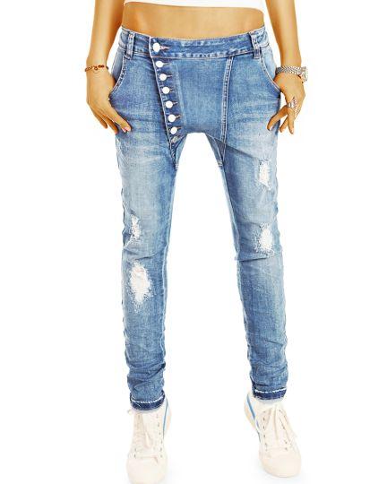 Baggy Boyfriend Low Waist im lockeren Tapered Fit -  schräge Knopfleiste - Damen Jeanshose - j16L-2-Q