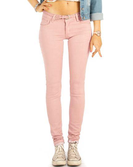 Low Waist Jeans Hüftjeans Röhrenjeans rosa Skinny Hosen - Damen -  j16e