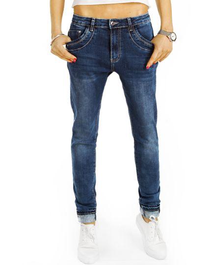 Boyfriend Low Waist Hüftjeans Hose im lockeren bequemen weiten Relaxed Fit - Damen - j10f-2