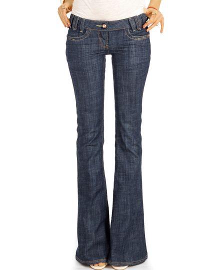 Bootcut Jeans Low Waist Hüftjeans Hose Retro Schlagjeans Stretch Fit Passform  - Damen - j24g-3