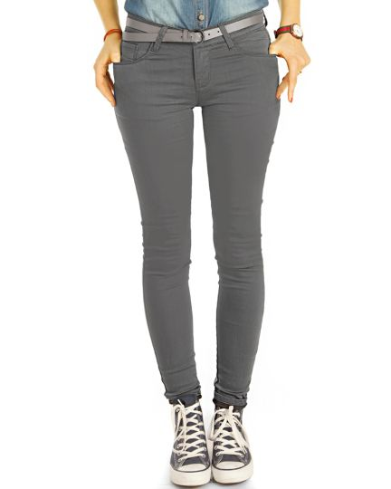 Low Waist Jeans Hüftjeans graue Röhrenjeans Skinny Hosen - Damen -  j1g-5