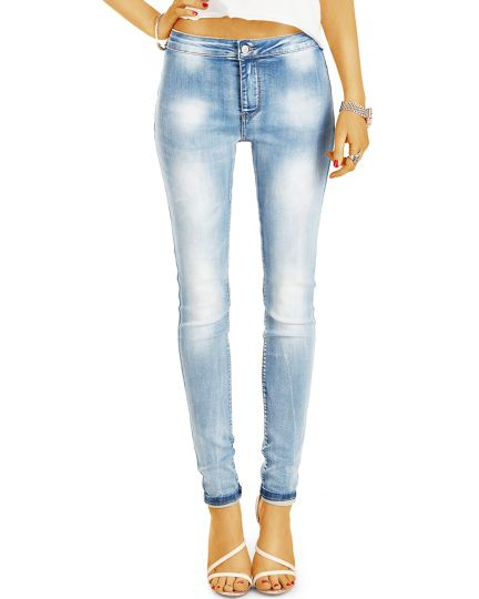 Hight Waist Skinny Röhrenjeans enge Slim Stretch Fit in Used Vintage Hellblau - Damen - j33g-Q