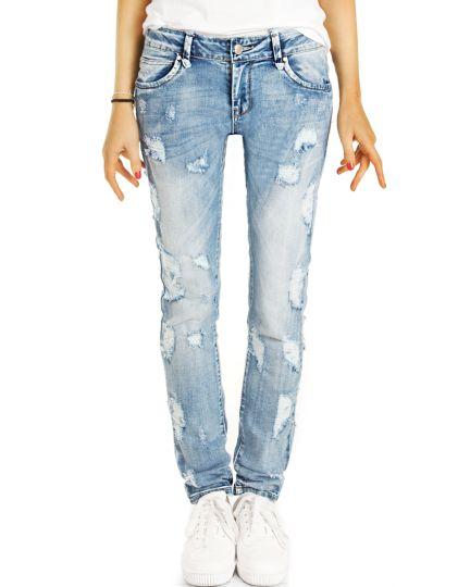 Designer Jeans, zerrissene Destroyed Used-Optik, hellblaue röhrige Slim fit Hose - Damen - j17p-Q
