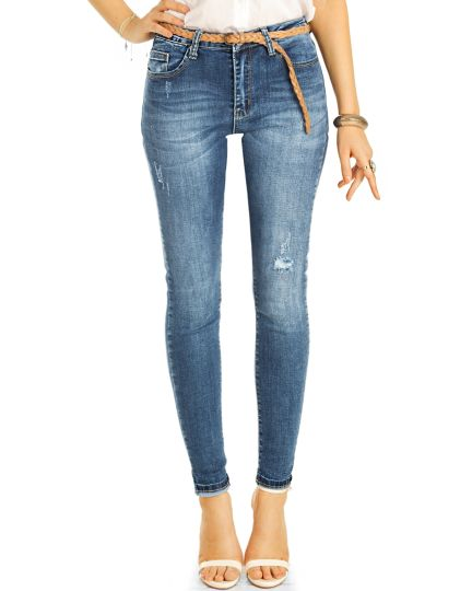 Stretchjeans Hose,medium waist enge Skinny Röhrenjeans - Destroyed high waist- Damen - j23i-1